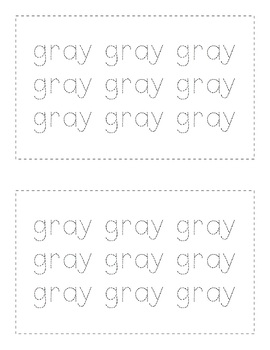 Sight Word Books - Color Words - GRAY