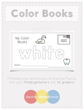 Sight Word Books - Color Words - WHITE