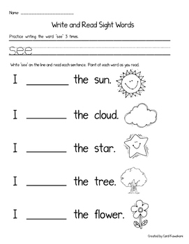 Sight Word Books: Companion Pages for Sight Word Books Set 1: a,the,see,my,like
