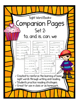 Sight Word Books: Companion Pages for Sight Word Books Set 2:to,and,is,can,we