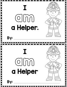 "Sight Word Books:  ""I AM a Helper"" Community Helper Interactive reader"