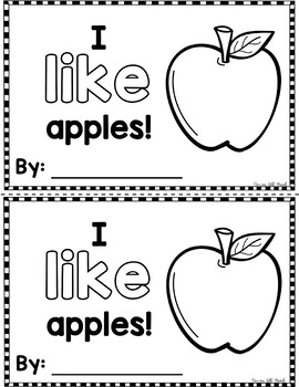 "Sight Word Books:  ""I LIKE Apples"" Interactive reader"