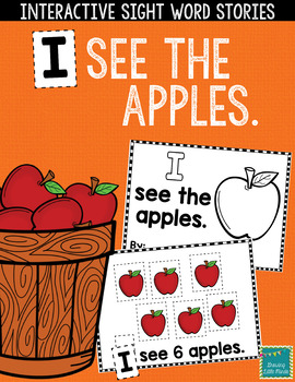 """Sight Word Books:  """"I See the Apples"""" Interactive reader"""