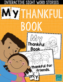 "Sight Word Books:  ""MY Thankful Book"" Thanksgiving reader"