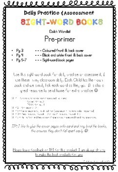 DOLCH Sight Word Books PRE-PRIMER  -- Practice, Assessment & Homework Books--