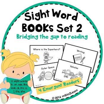 Sight Word Books Set 2 for Beginning Guided Reading