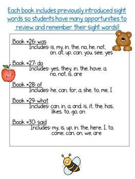 Sight Word Books: Set 6 -was, do, of, what, said; Sight Word Books #26-30 Bundle