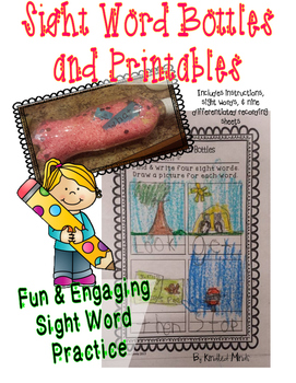 Sight Word Bottle Instructions & Nine Differentiated Recording Sheets w/Words