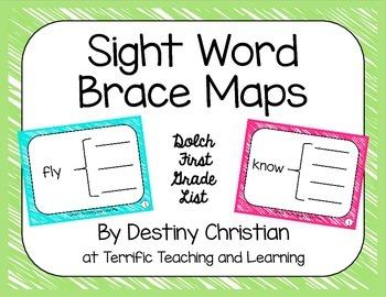 Sight Word Brace Maps {Dolch First Grade List}