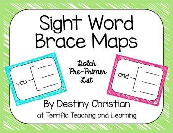 Sight Word Brace Maps {Dolch Pre-Primer List}