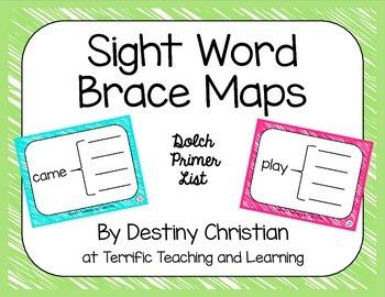 Sight Word Brace Maps {Dolch Primer List}