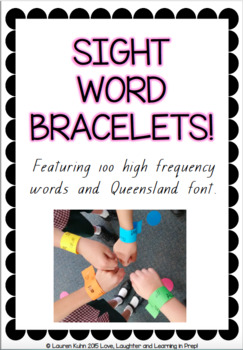 Sight Word Bracelets! Featuring 100 high frequency words and Qld font.
