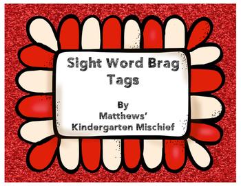 Sight Word Brag Tags
