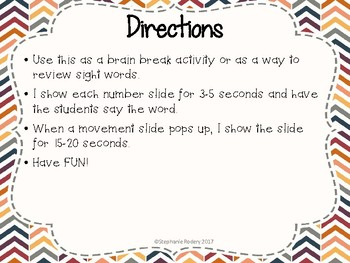 Sight Word Brain Breaks