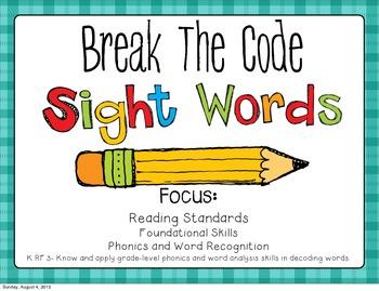 Sight Word Break The Code