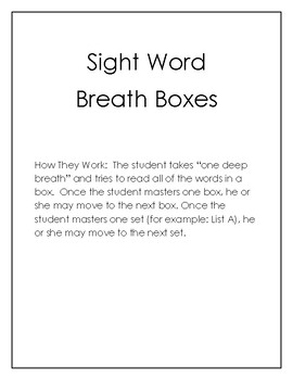Sight Word Breath Boxes