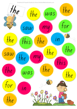Sight Word Bubble Pop Coloured Activity