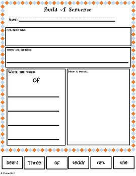 Sight Word Build A Sentence Set 1