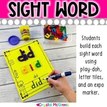 Sight Word Build It & Write It Literacy Center (Black & White Version)
