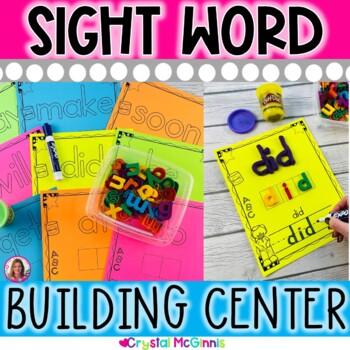 Sight Word Build It & Write It Literacy Center (Black & Wh