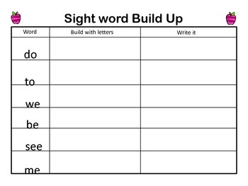 Sight Word (High frequency word) Build Up game Kindergarten