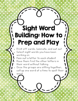 Sight Word Building