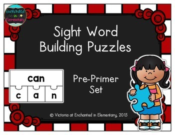 Sight Word Building Puzzles: Pre-Primer Set