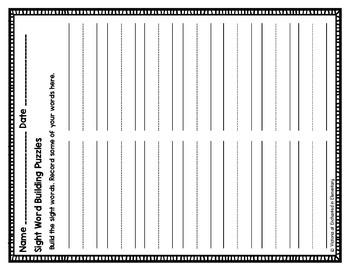 Sight Word Building Puzzles: Primer Set