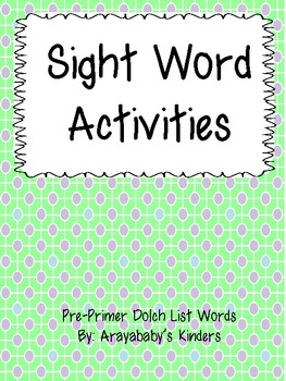 Sight Word Building and Rainbow Writing- PrePrimer Words