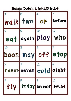Sight Word Bump 220 Dolch words