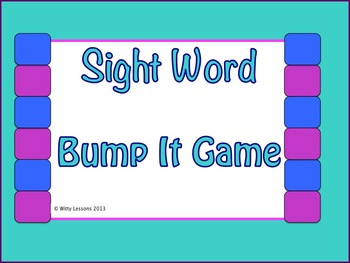 Sight Word Bump It Game