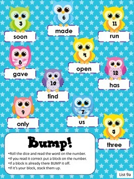 Sight Word Bump games!