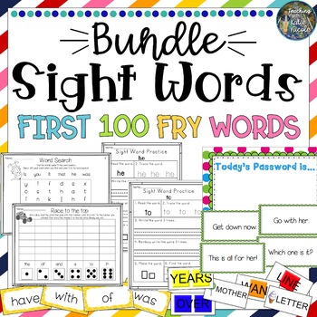 Sight Word Bundle: 1st 100 Fry Words: Worksheets, games, word wall cards....