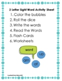 Sight Word Activities- 2 Letter Words- Color, Write, Ident