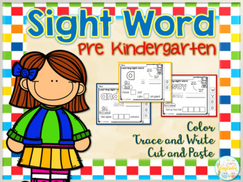 Sight Word Bundle Color, Cut and Paste, Trace and Write