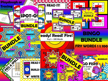 Sight Word Bundle - Fry Words 1 to 100 The Ultimate Game Pack