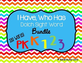 Sight Word Bundle - I Have, Who Has Games - 220 Words!