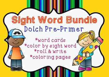 Sight Word Bundle Pack | Dolch Pre-Primer | Coloring, practice pages, word cards