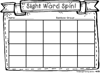 Sight Word Spin! (Tyner Words 1st 100)