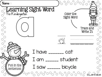 Sight Word Bundle Winter Activity Pre-K Kindergarten First Grade