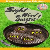 4th of July Kindergarten Sight Word Burgers Summer Game- B