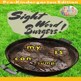 4th of July Preschool Sight Words Burgers Summer Game- BBQ