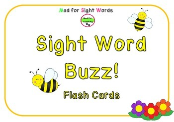 Sight Word Buzz Flash Cards