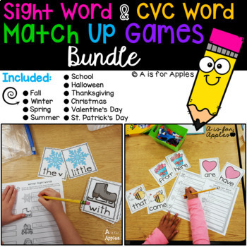 Sight Word & CVC Word Games Bundle (Editable)