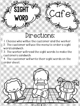 Sight Word Cafe BUNDLE: Kindergarten- ALL 6 Weeks {Color and B&W}