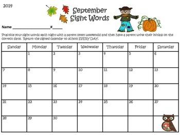 Sight Word Calendars Aug 2014- Dec 2015