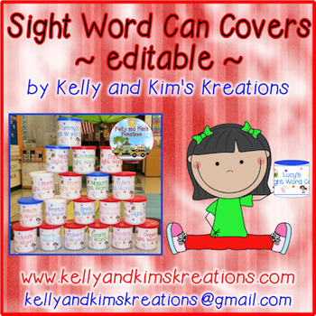 Sight Word Can Covers ~ Editable ~