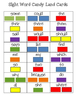 Sight Word Candy Land Cards