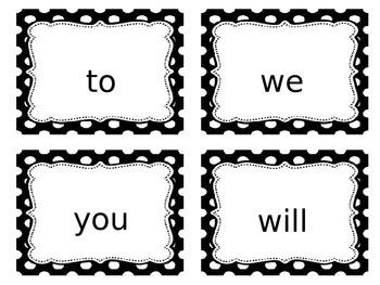 Sight Word Card- Black Polka Dot