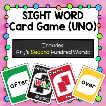 Sight Word Card Game [UNO] - Set 2